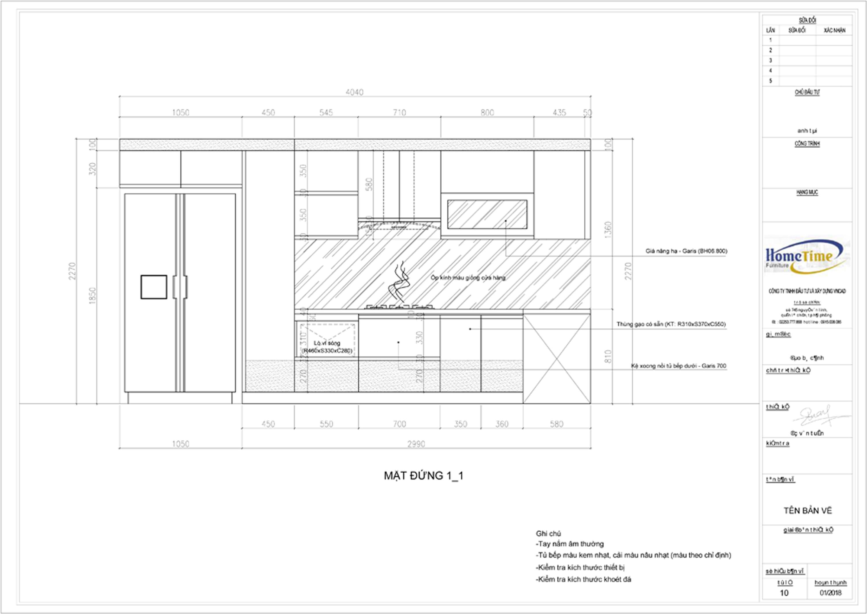 Bane vẽ 2D tủ bếp nhà Anh Công, Hải Phòng