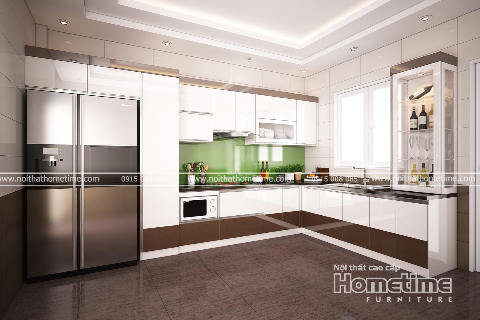 tủ bếp kết hợp với tủ rượu đẹp ở Hải Phòng