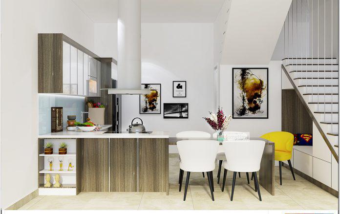 tủ bếp nhựa kèm bàn ăn trong không gian nhỏ