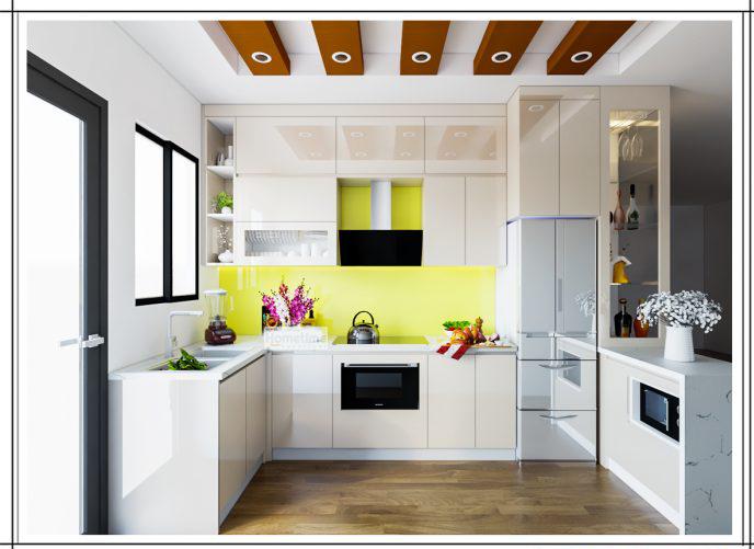 Tủ bếp nhựa chữ L trong không gian cửa sổ lớn