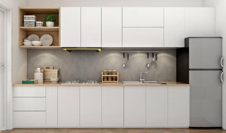 Tủ bếp nhựa chữ I màu trắng cao cấp