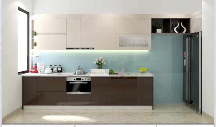 Tủ bếp phủ laminate chữ Isang trọng