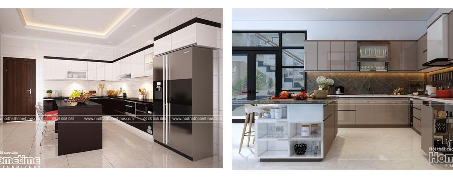 Tủ bếp acrylic có bàn đảo quảng ninh
