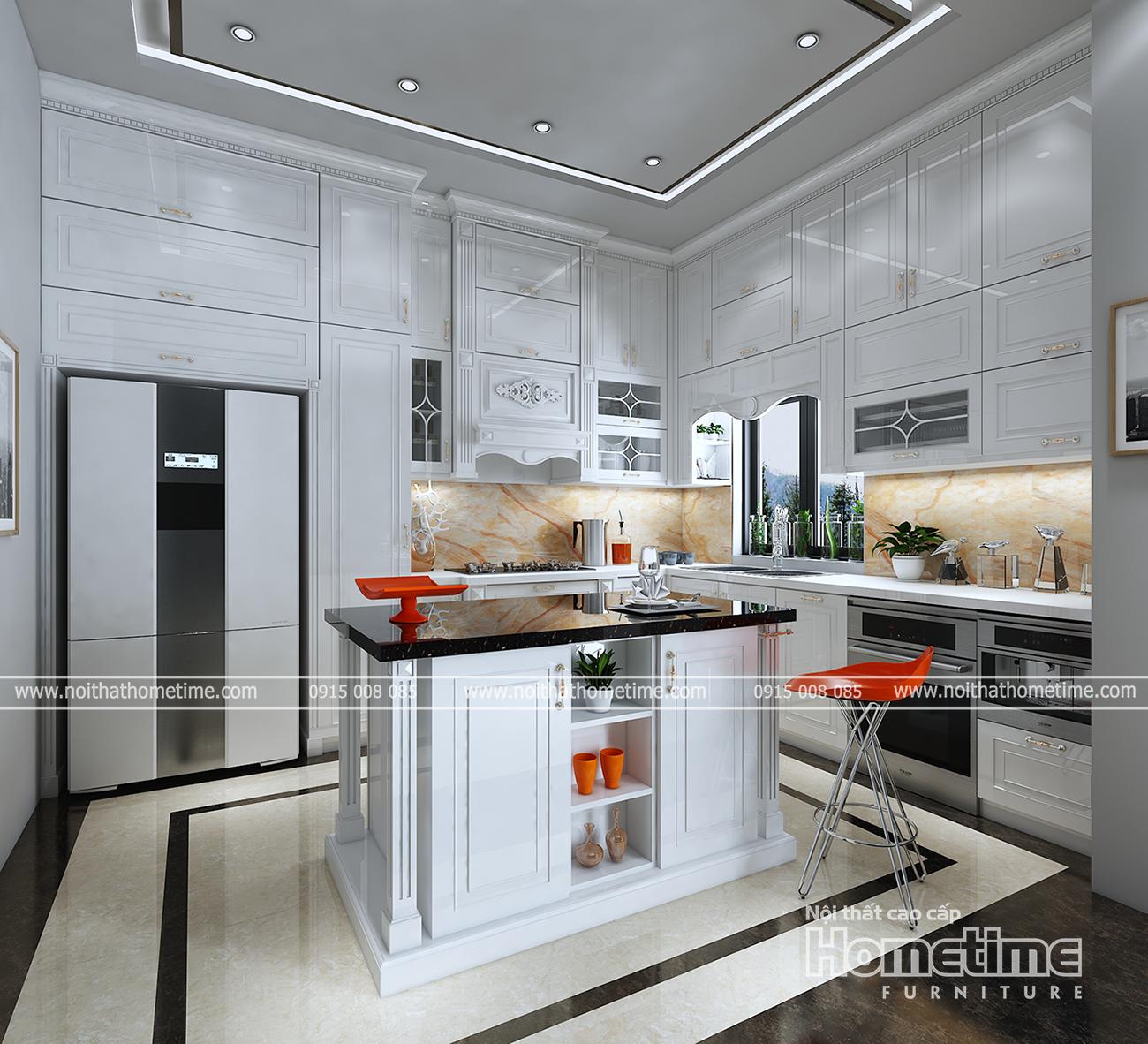 Tủ bếp nhựa phong cách tân cổ điển đẹp
