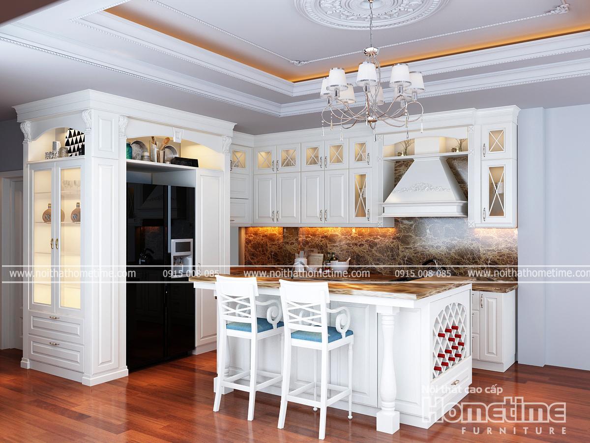 Vẻ đẹp màu trắng tinh khôi chủ đạo của toàn bộ tủ bếpđem lại không gian rộng rãi