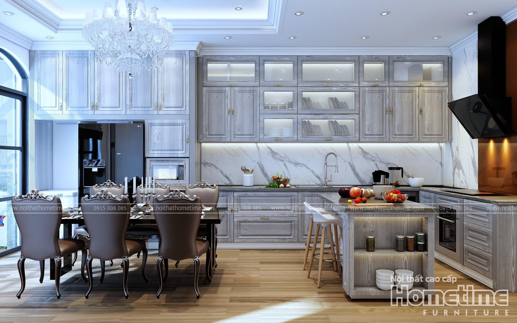 Tủ bếp phong cách tân cổ điển nhà anh Hưng Shophouse