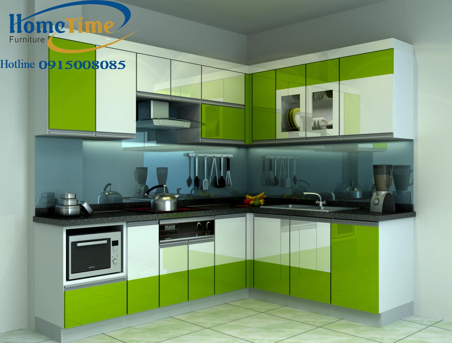 Mẫu tủ bếp nhựa đẹp tại Hải Phòng màu xanh cốm nhà anh Dũng