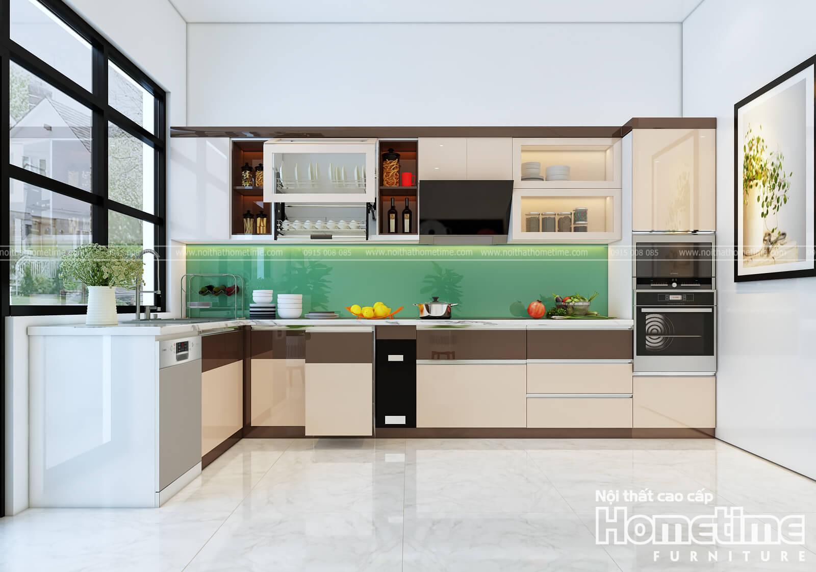 tủ bếp nhựa sơn men bóng cao cấp nhà anh Khái