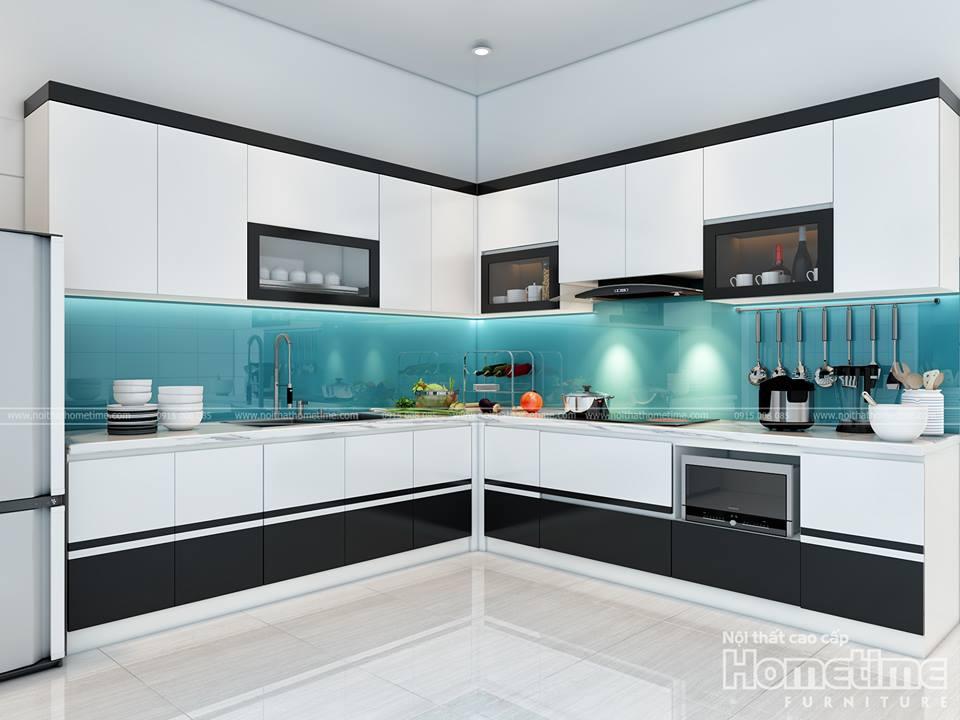 Hình ảnh phối cảnh 3D tủ bếp sang trọng nhà chị Hà