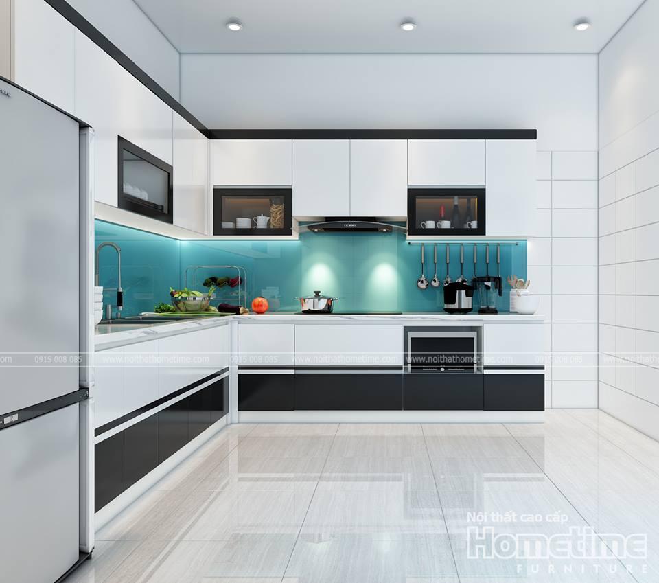 Hình ảnh 3D tủ bếp phủ acrylic nhà chị Hà hướng chính diện