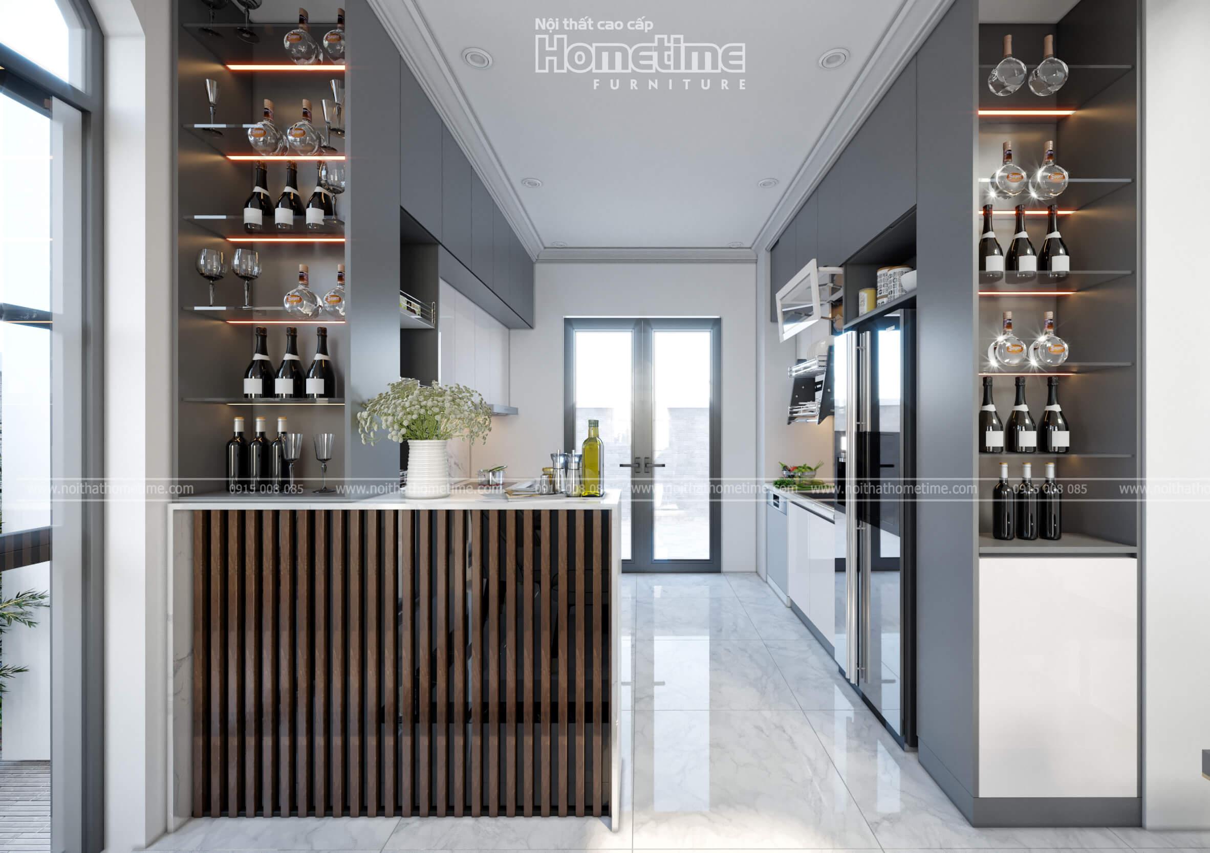 Tủ bếp kết hợp quầy bar và tủ rượu nhà chú Khanh