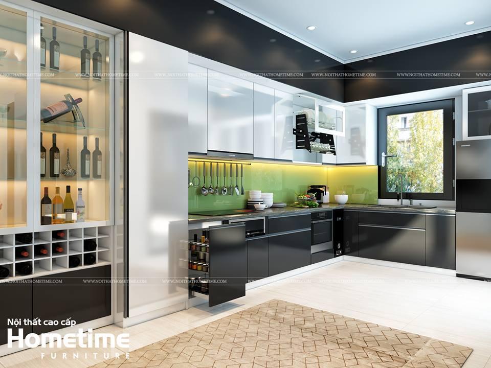 Hình ảnh tủ bếp nhựa phủ acrylic bóng tráng giương nhà anh Trung