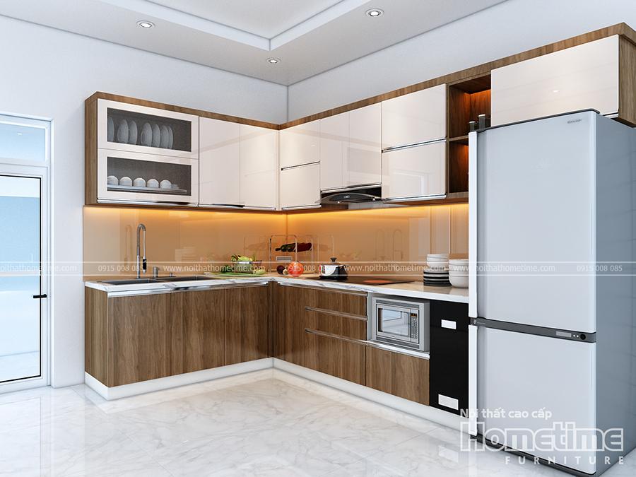 Hình ảnh tủ bếp nhựa hiện đại nhà anh Trung