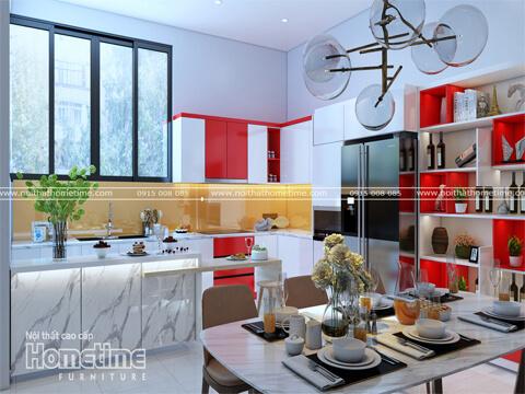 Tủ bếp nhựa sơn men bóng cao cấp nhà chị Huyền Tây Sơn