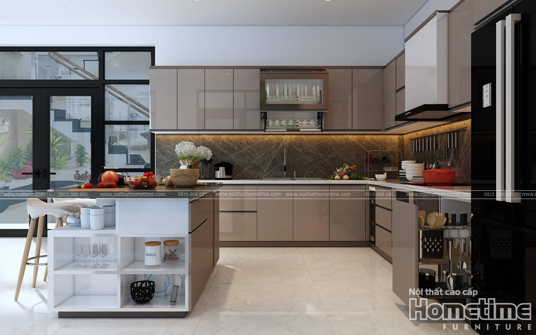Hình ảnh tủ bếp nhà anh Huynh với hướng nhìn ngoài vào