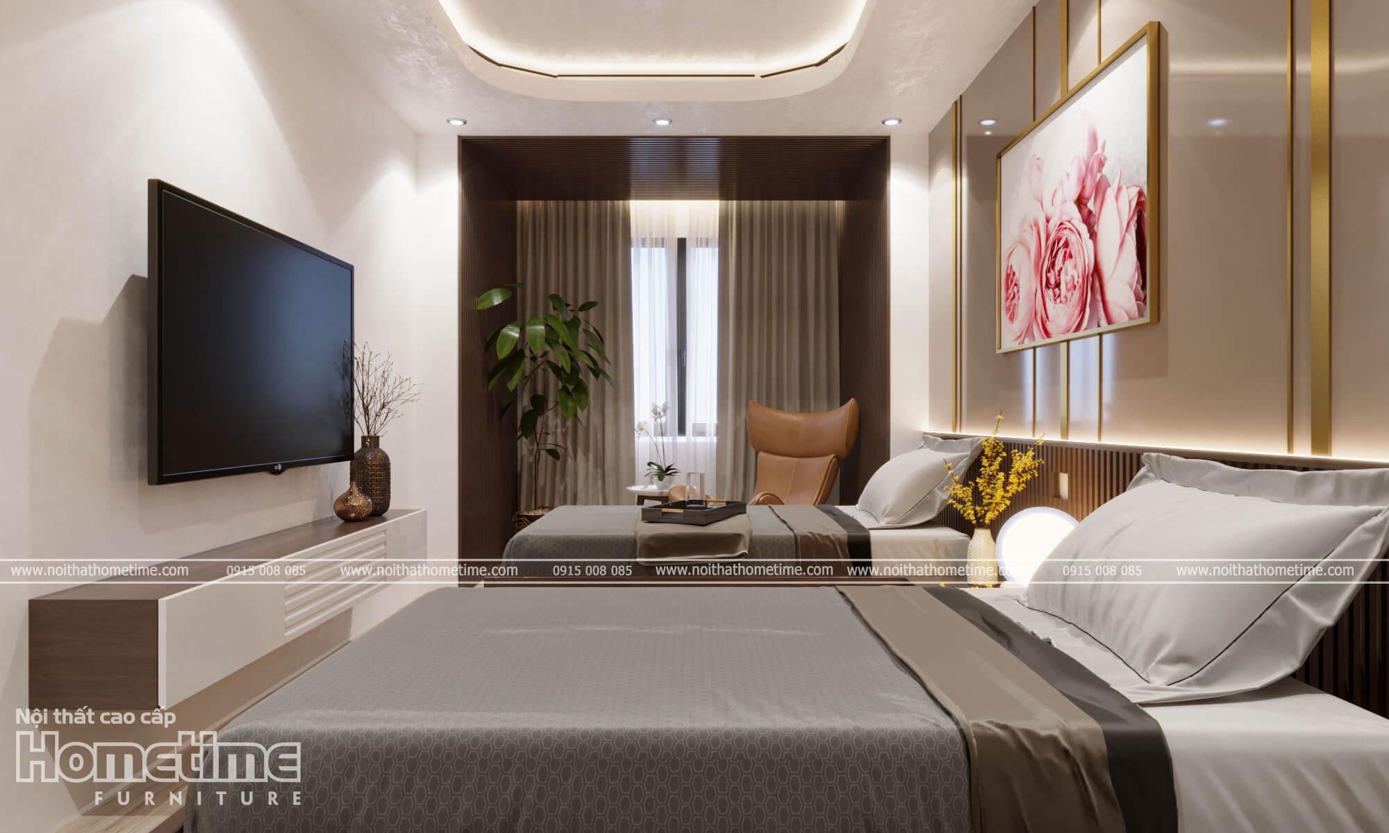 Phòng ngủ được bố trí tivi tiện dụng
