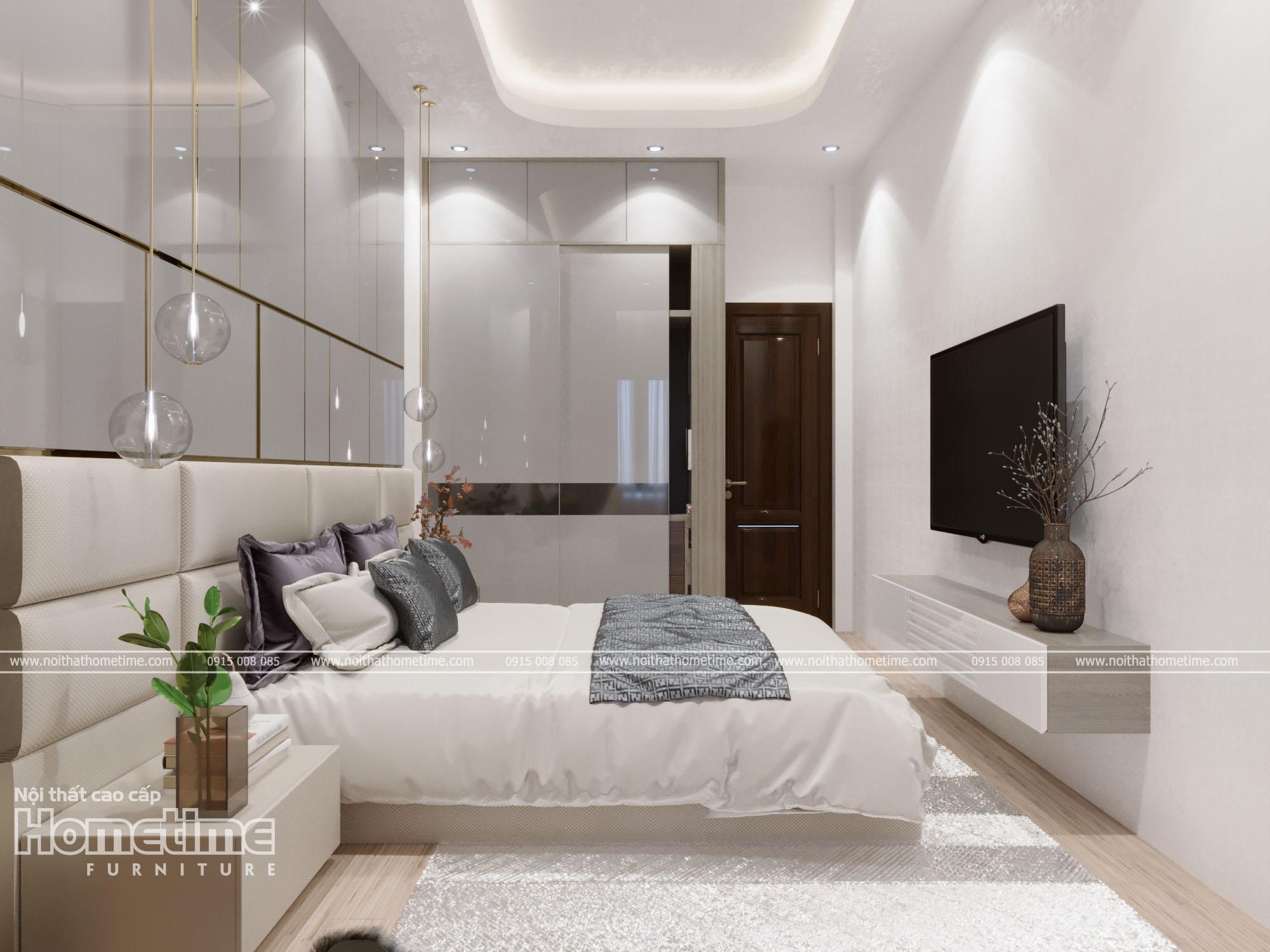 Không gian nội thất phòng ngủ được thư giãn, giải trí với chiếc tivi