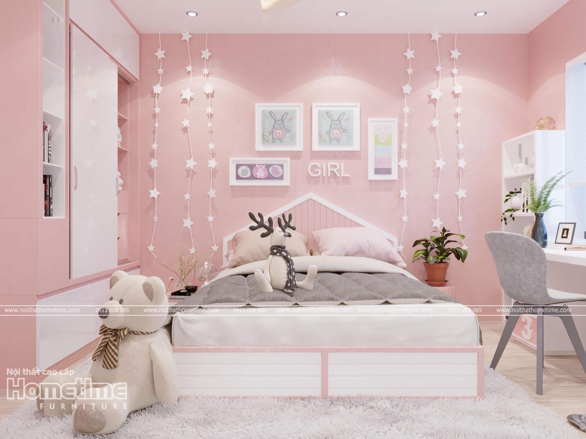 Một căn phòng ngủ cực dễ thương với tông màu hồng là chủ đạo