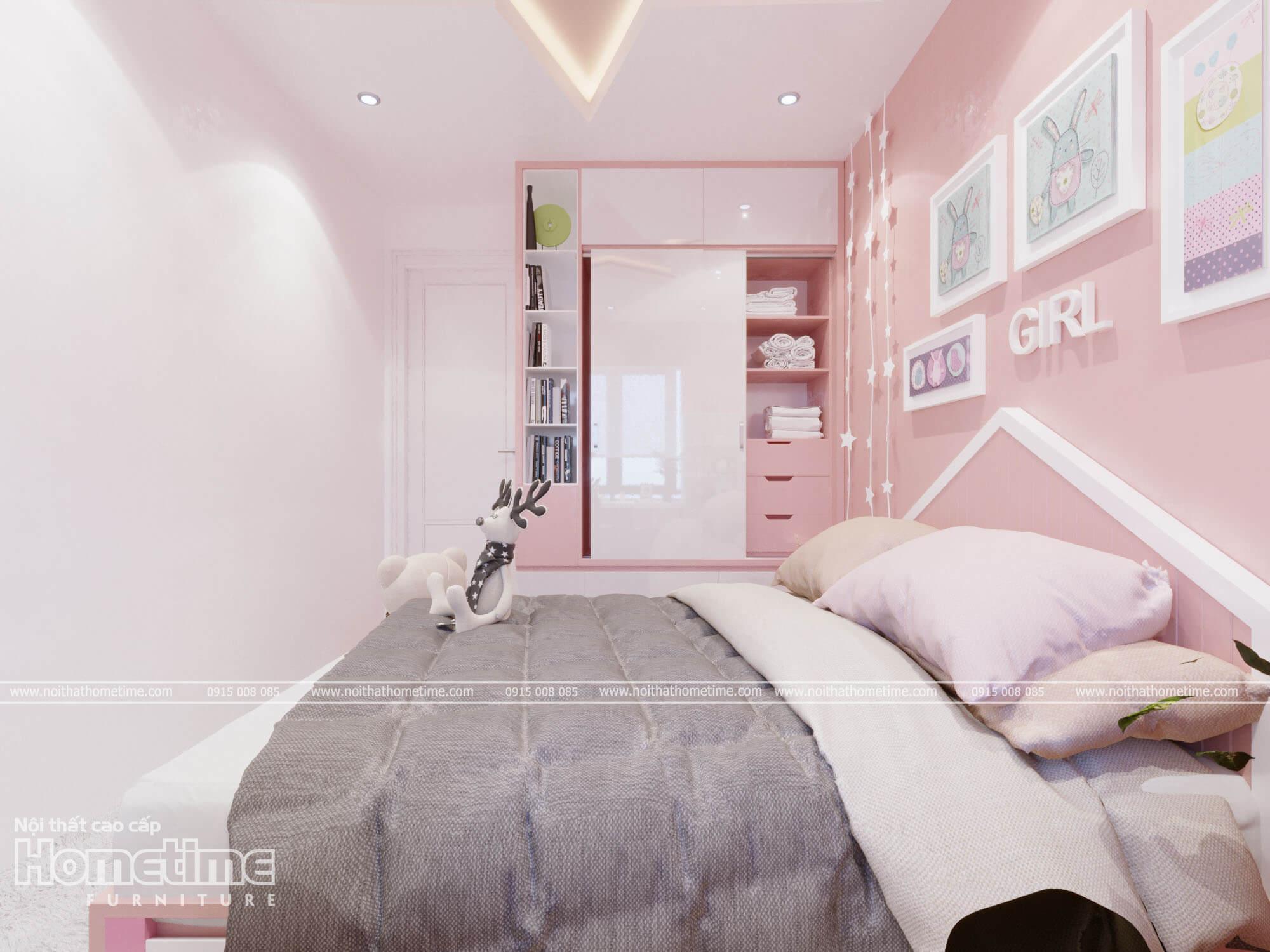 Tủ quần áo với tông màu trắng bóng kết hợp với màu hồng cực kì bắt mắt