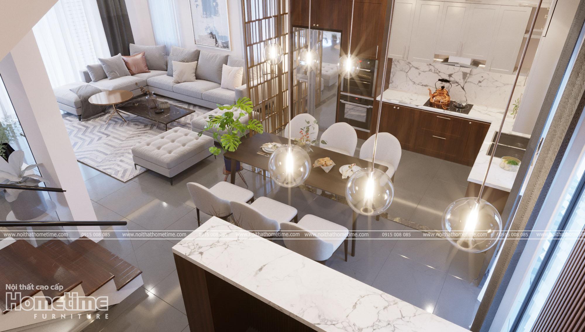 Bố trí nội thất phòng ăn kết hợp phòng khách, bếp hợp lý