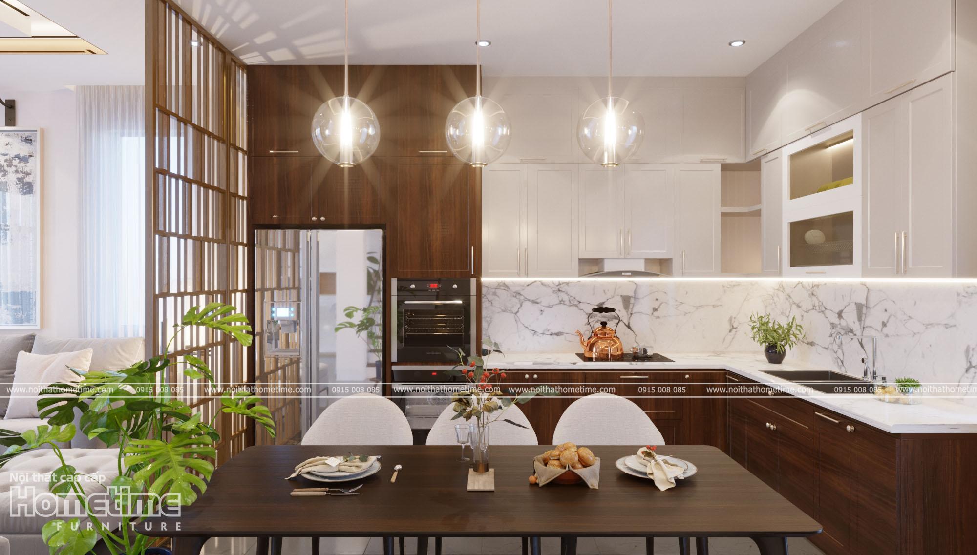 Nội thất phòng ăn sang trọng với ánh đèn trang trí rực rỡ
