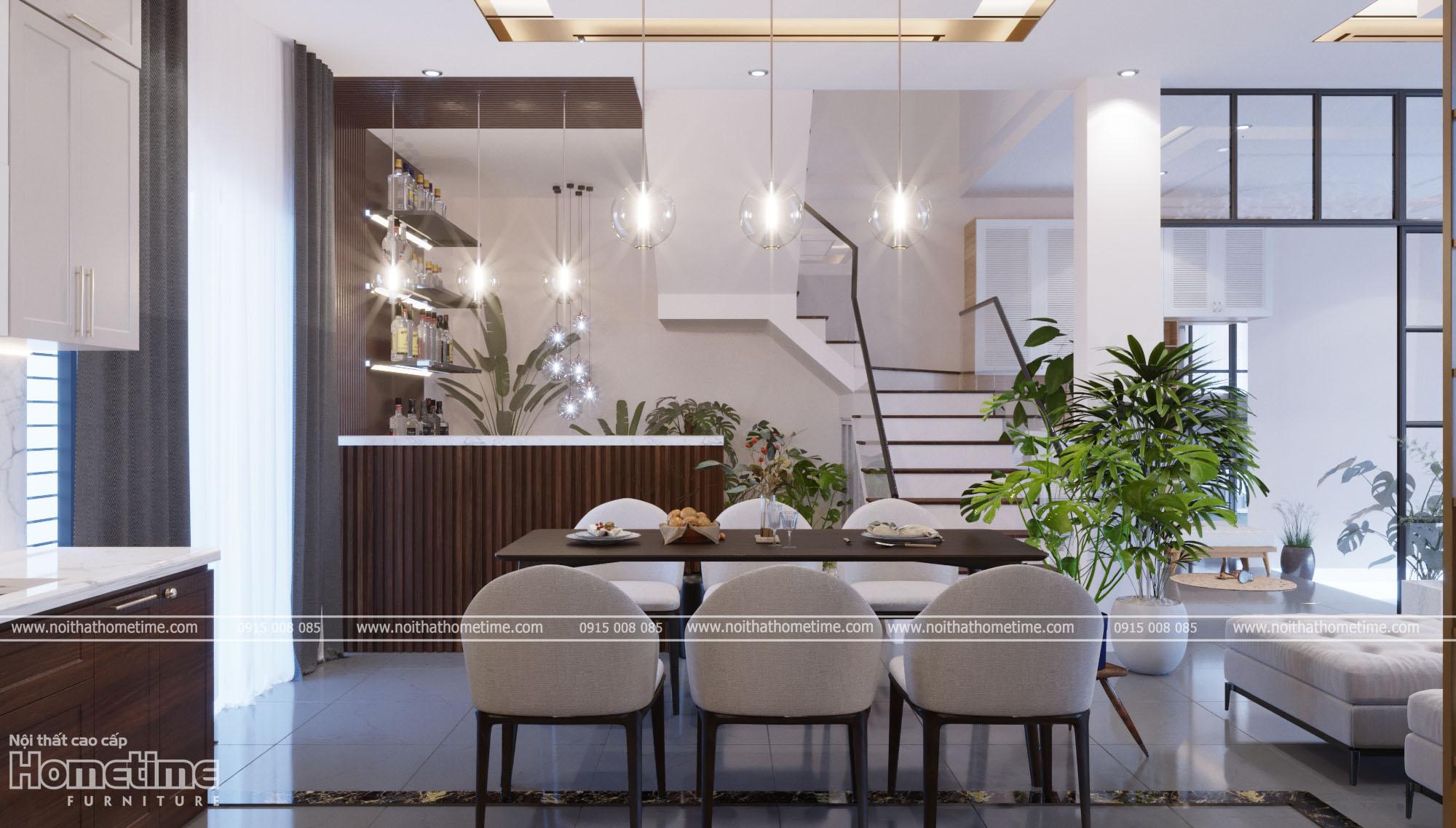 thiết kế nội thất phòng ăn hiện đại nhà chị Hương PG An Đồng