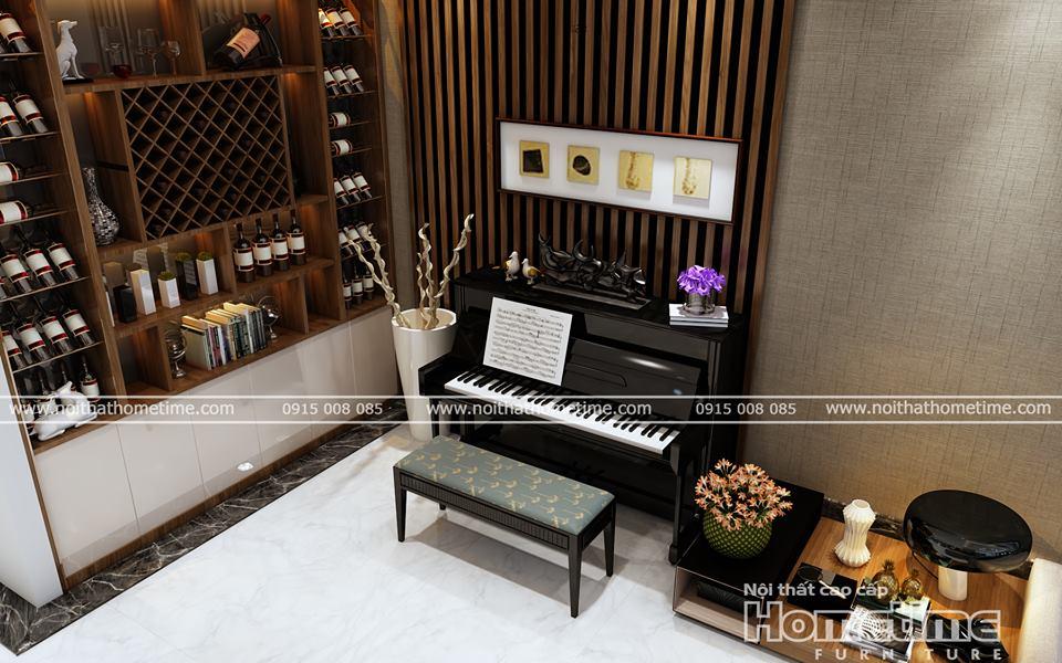 Hình ảnh chiếc đàn piano cao cấp và tủ rượu nhà anh Hùng