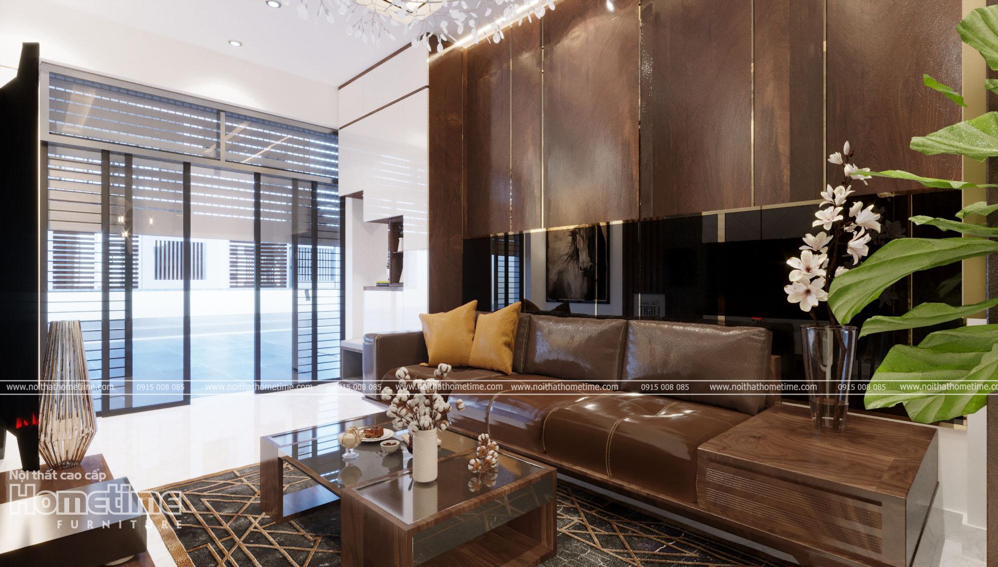 Bộ bàn trà, sofa đồng bộ với vách trang trí