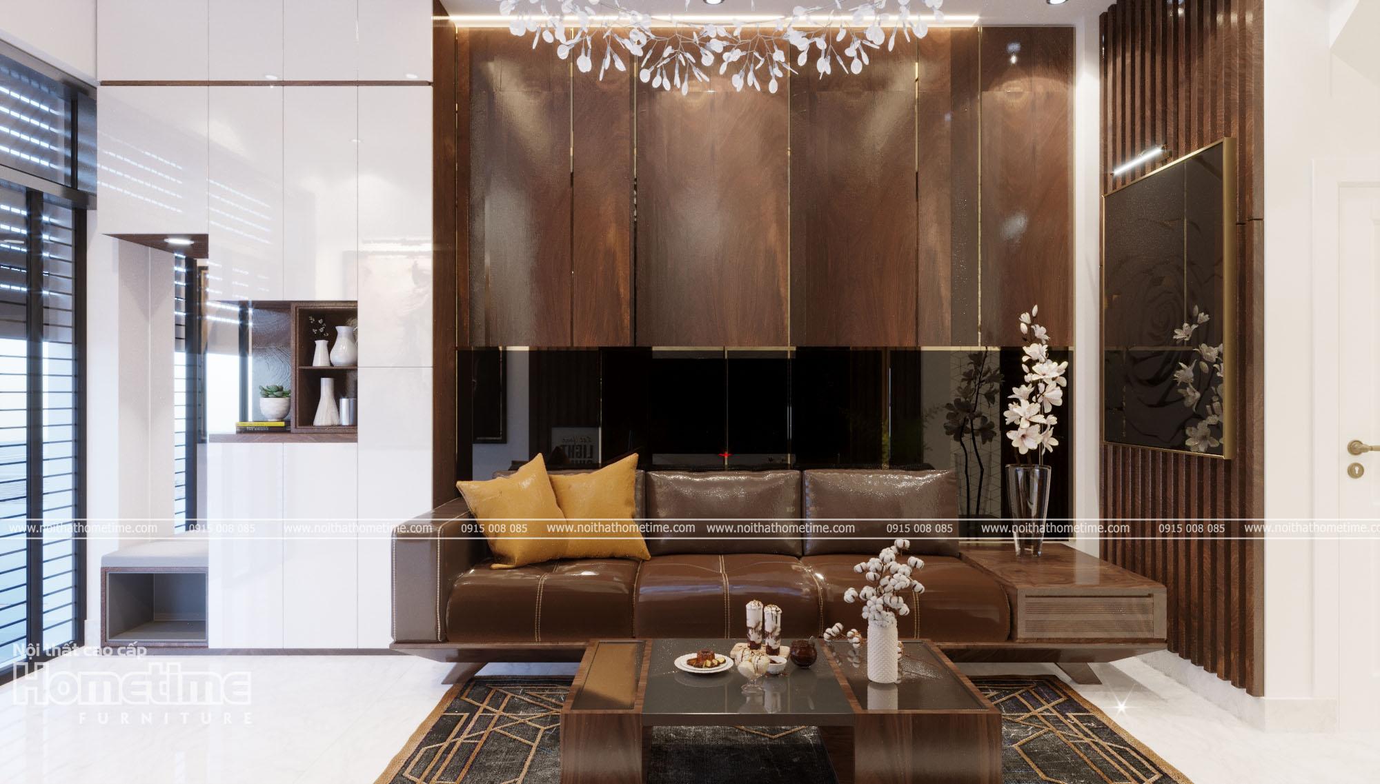 Thiết kế nội thất phòng khách với tông màu nâu chủ đạo