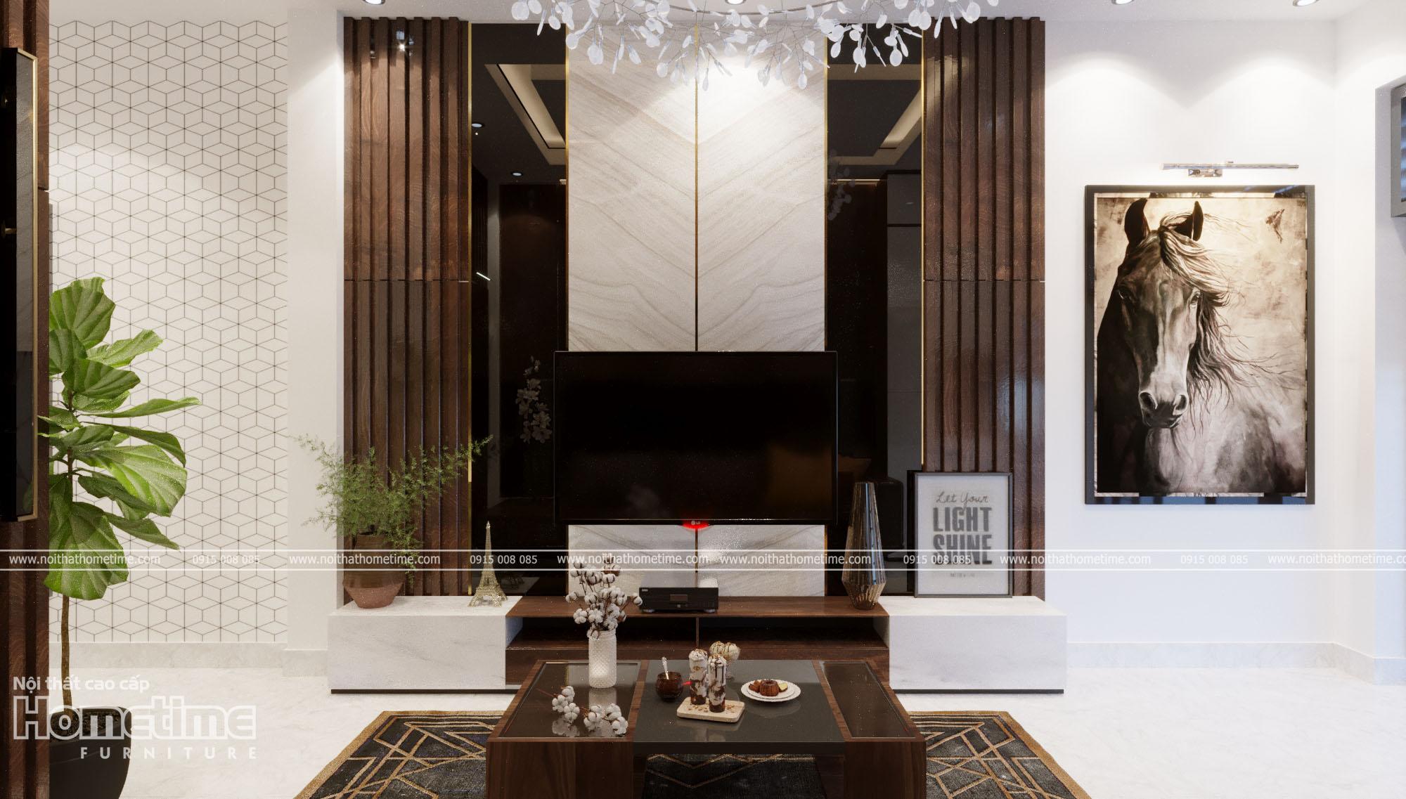 Nổi bật với vách trang trí phòng khách hiện đại