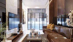 thiết kế nội thất phòng khách nhà ống mặt phố nhà anh Chính