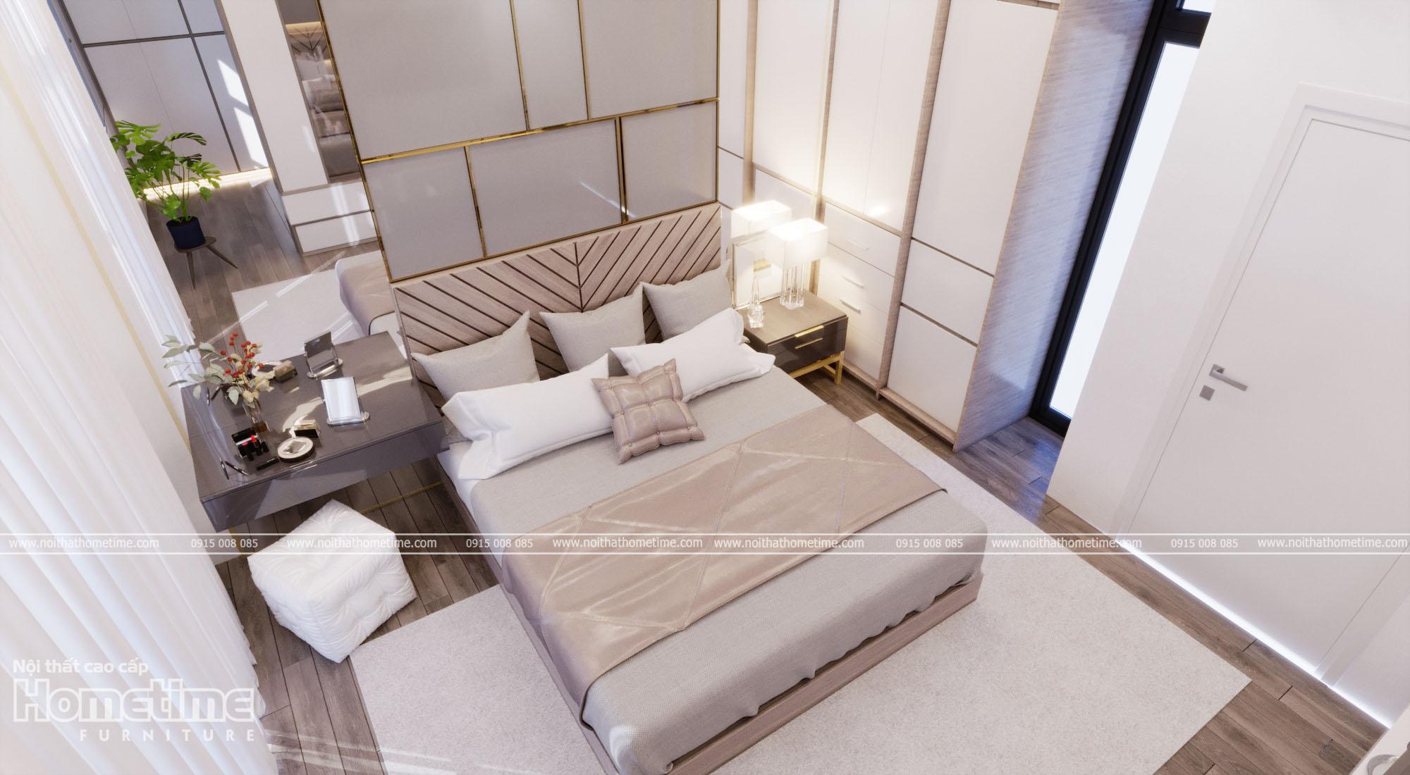 Phối cảnh thiết kế nội thất phòng ngủ nhà anh Tùng