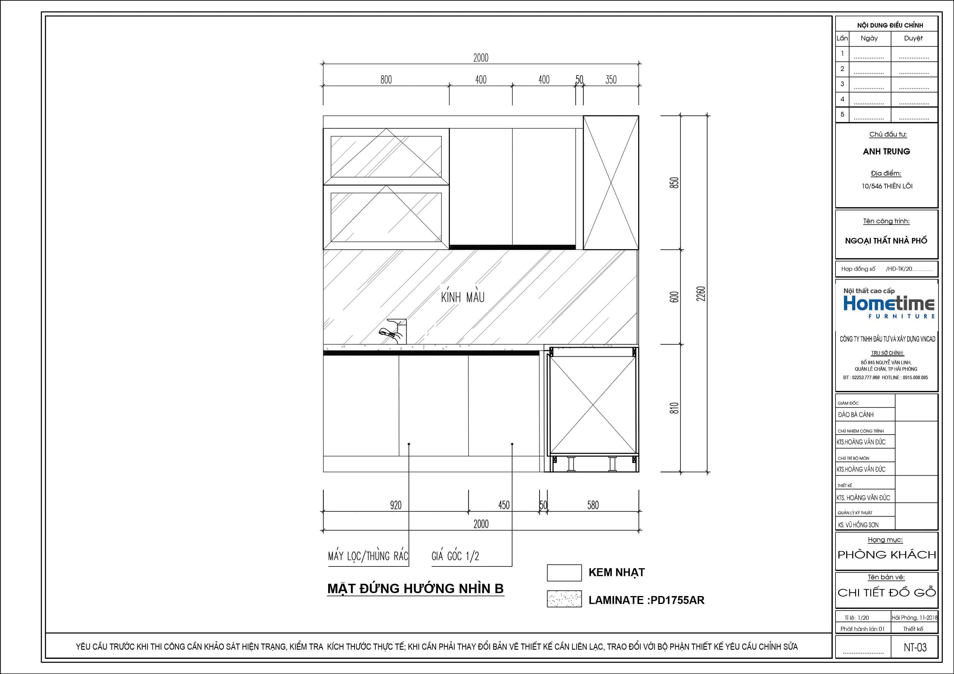 Mặt đứng hướng nhìn B bản vẽ 2D tủ bếp nhà anh Trung