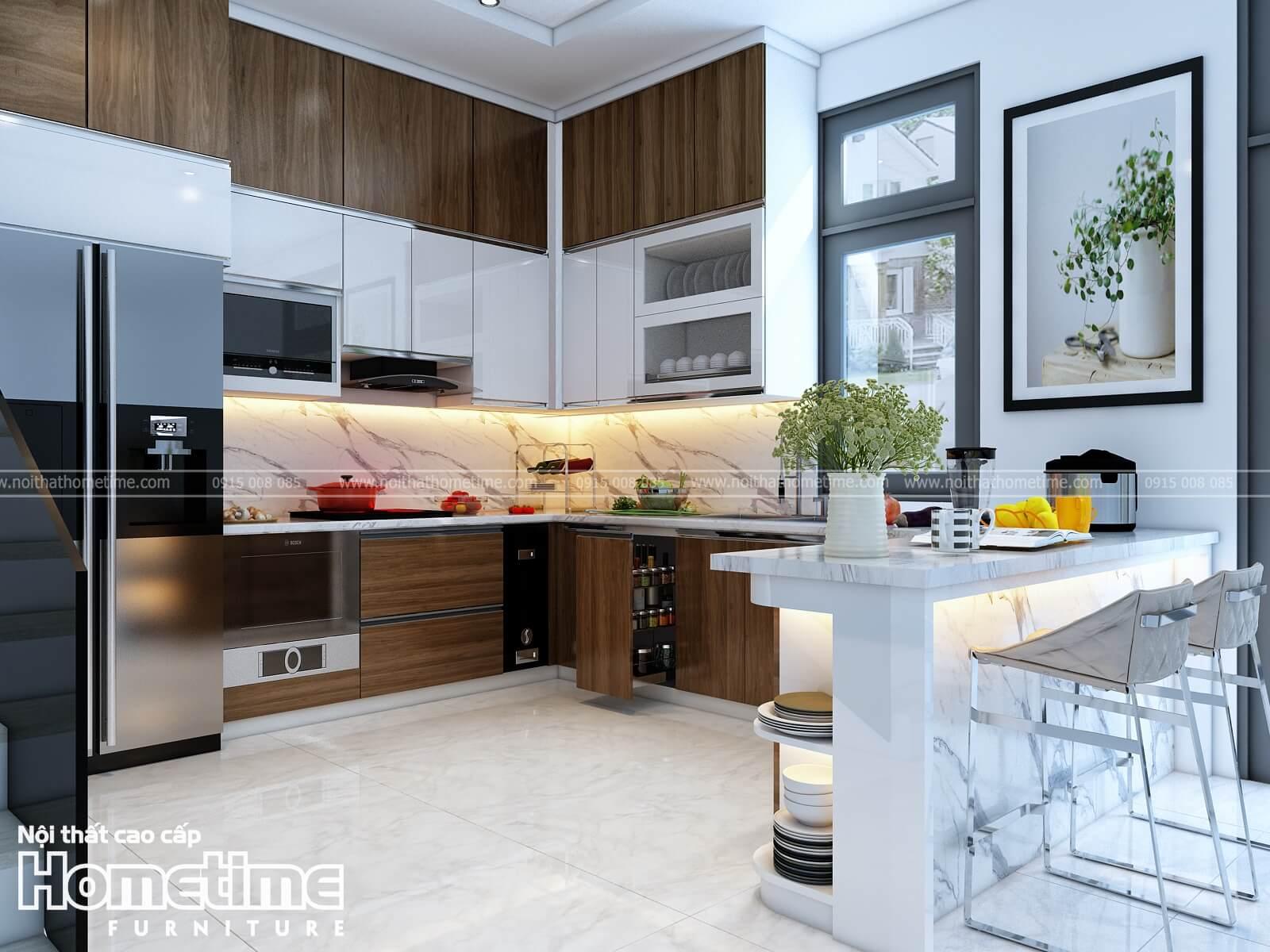 Tủ bếp nhựa kết hợp phủ acrylic và phủ laminate nhà chị Vân