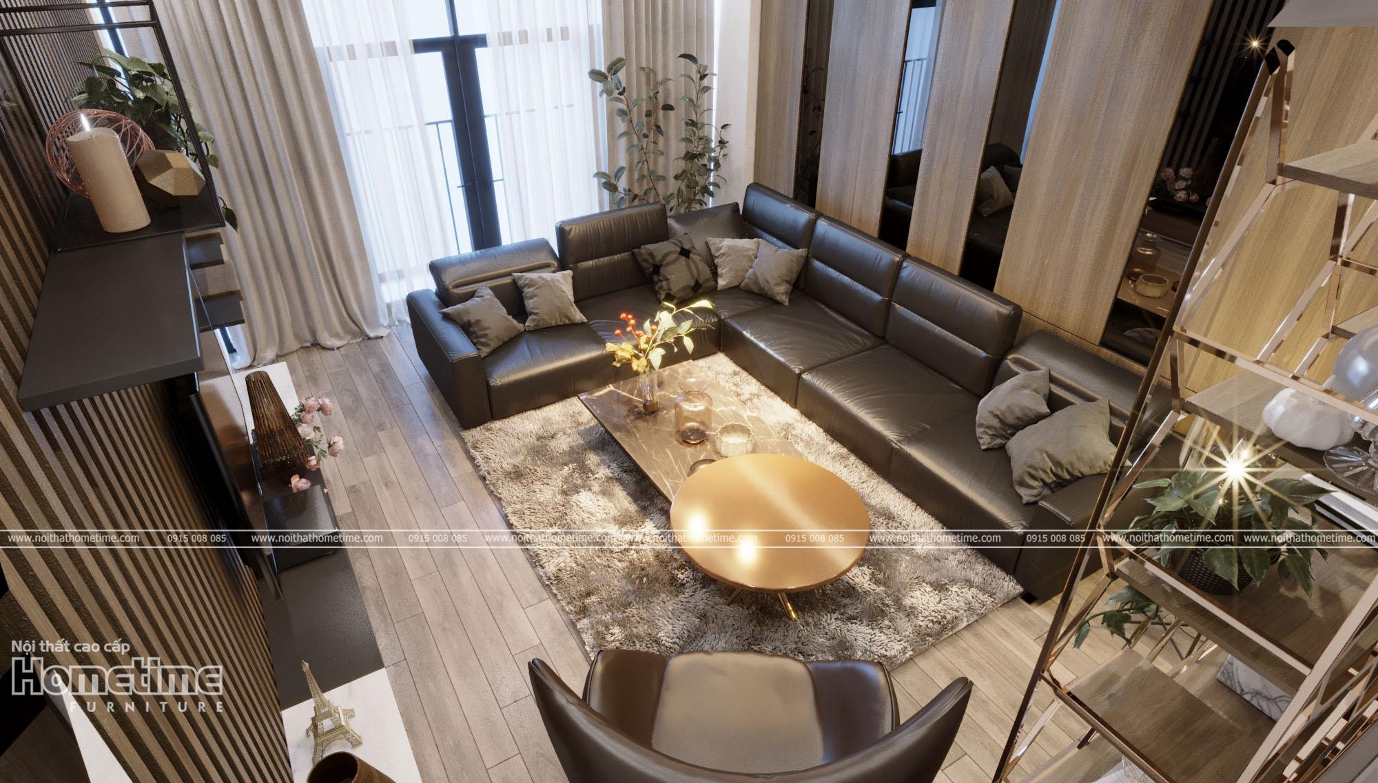 Không gian tổng quan nội thất phòng khách nhà anh Dương
