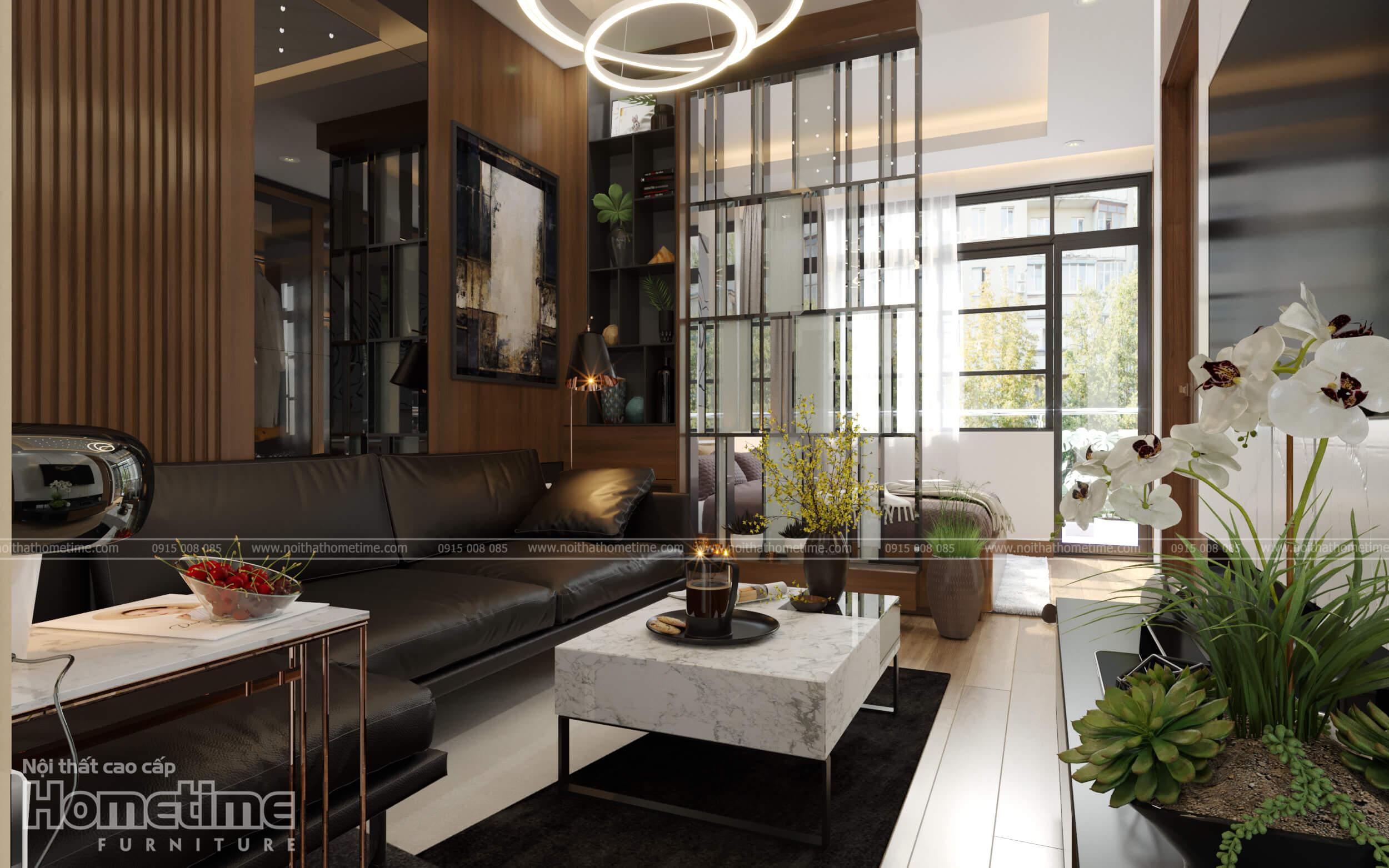 Nội thất phòng khách với bàn trà mặt đá cao cấp