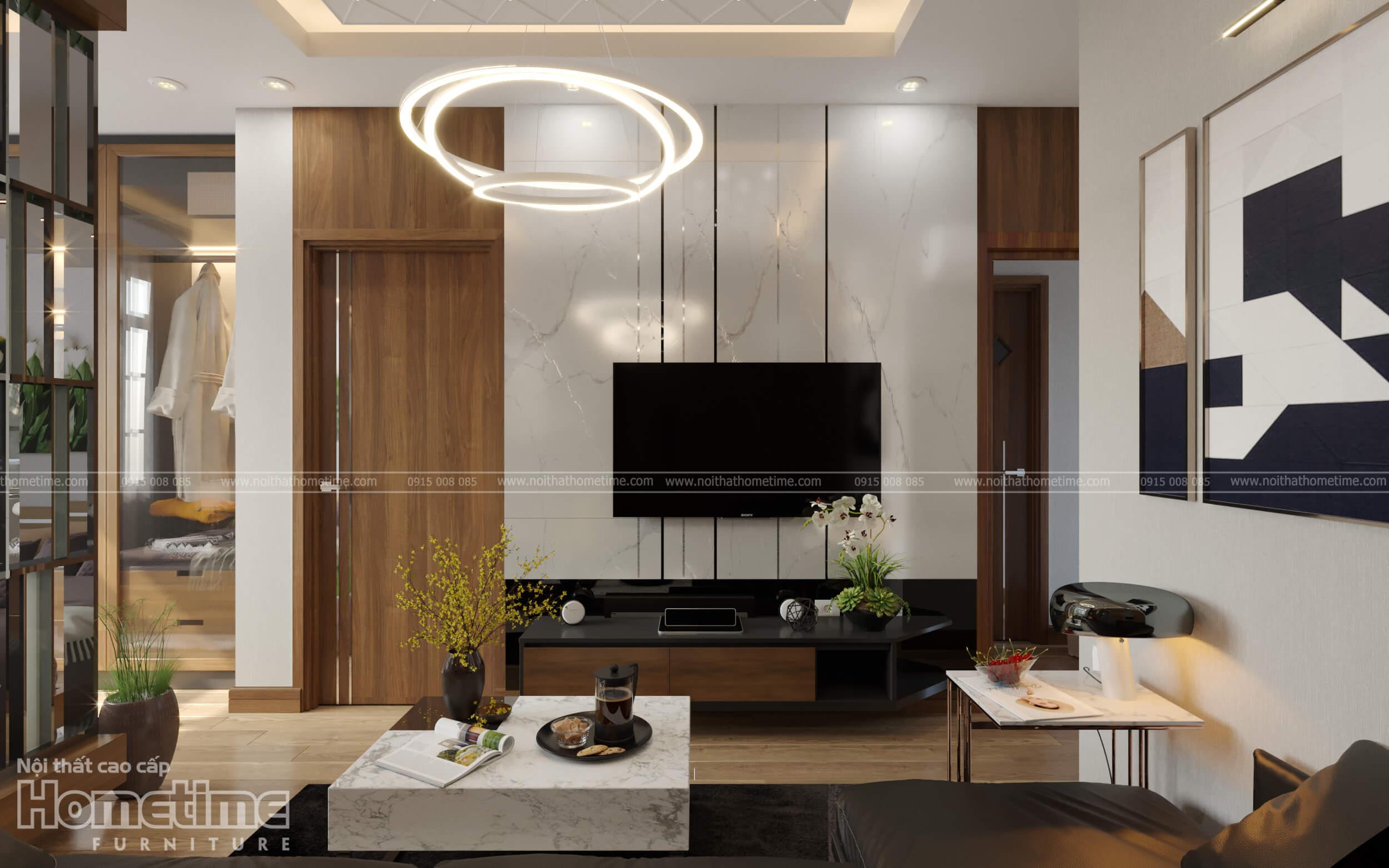 Thiết kế nội thất phòng khách nhà anh Minh Water Front City Hải Phòng 005