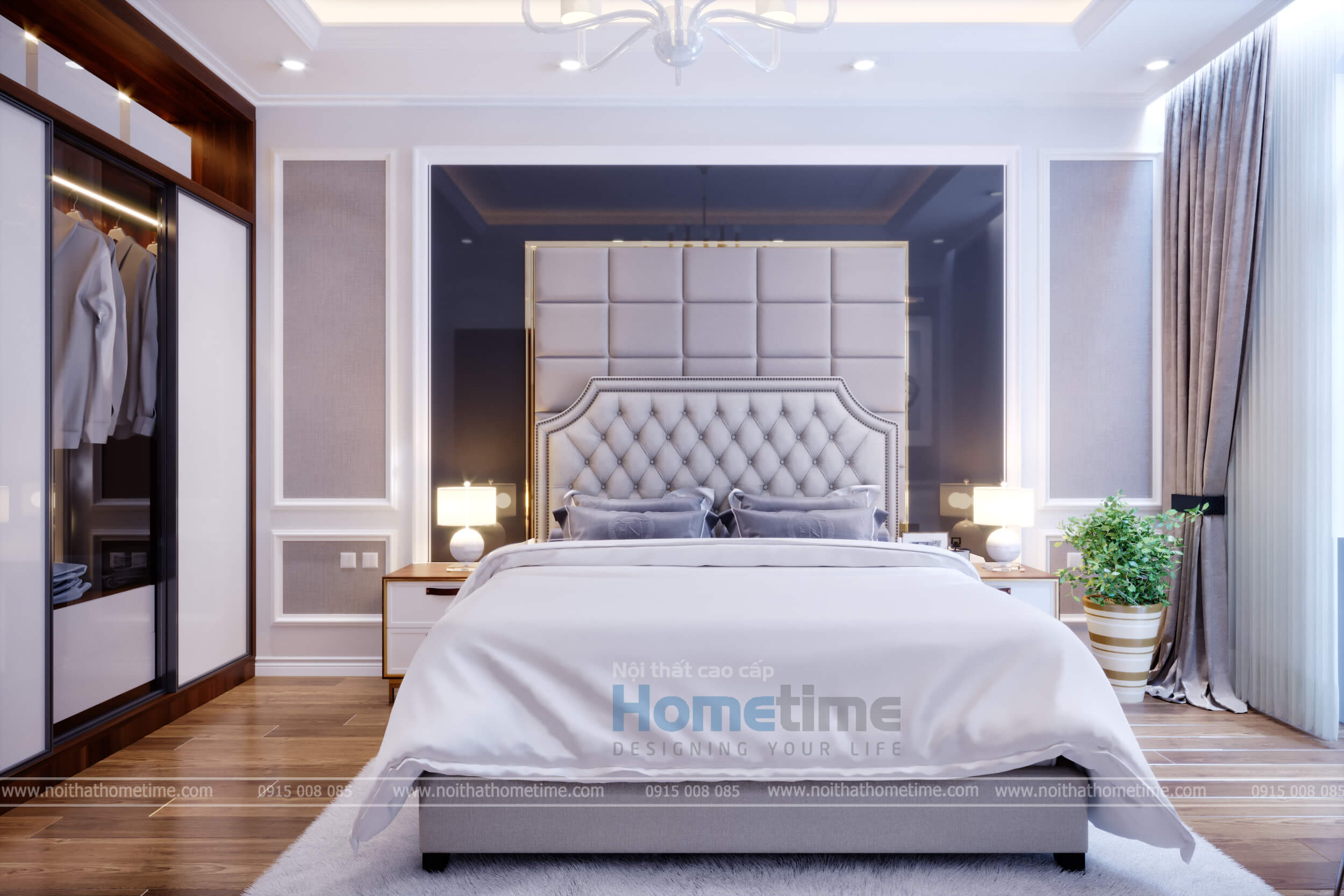 Vách giường ngủ được bọc da cao cấp