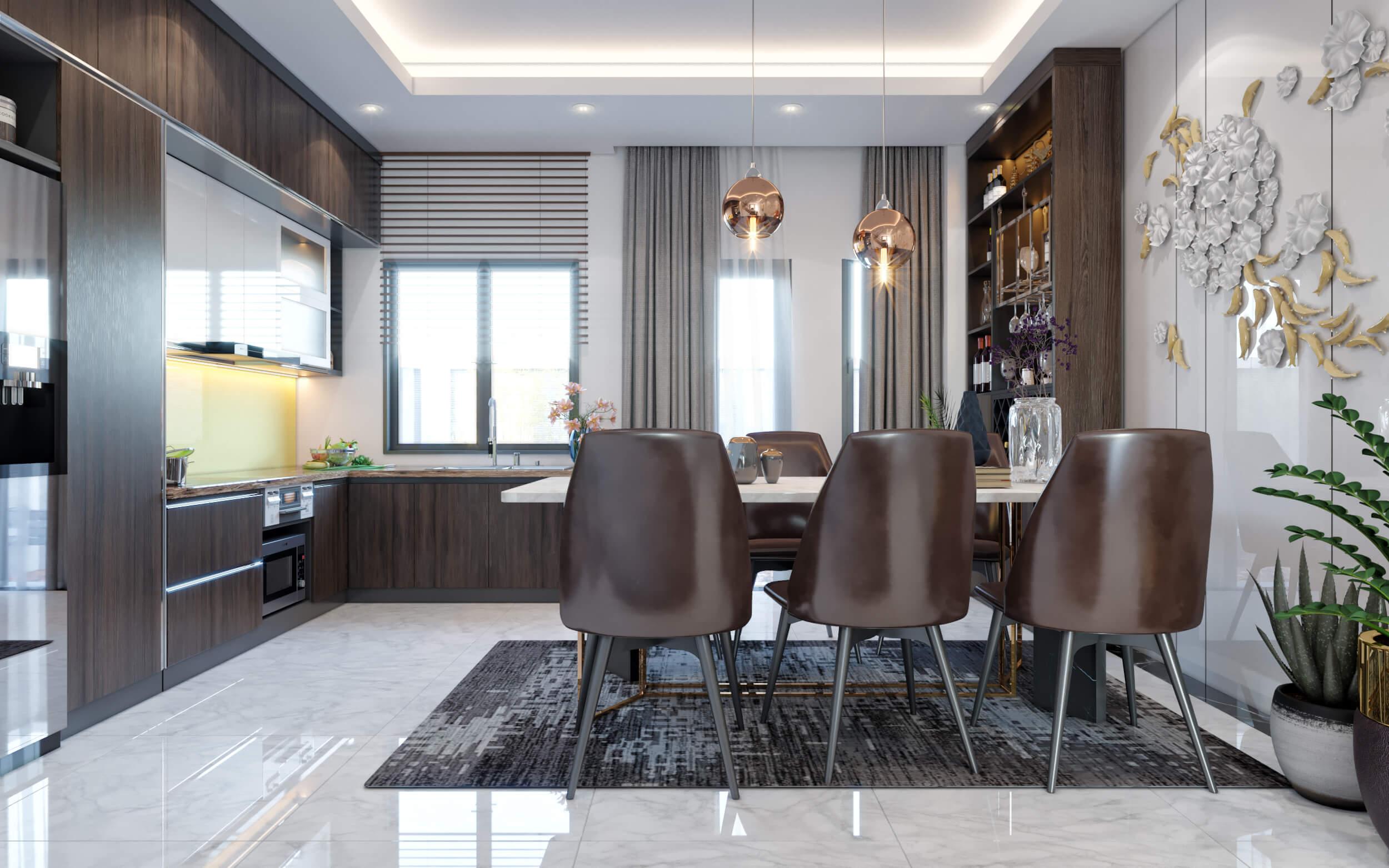 Hình ảnh 3D phòng ăn hiện đại, sang trọng nhà anh Thanh