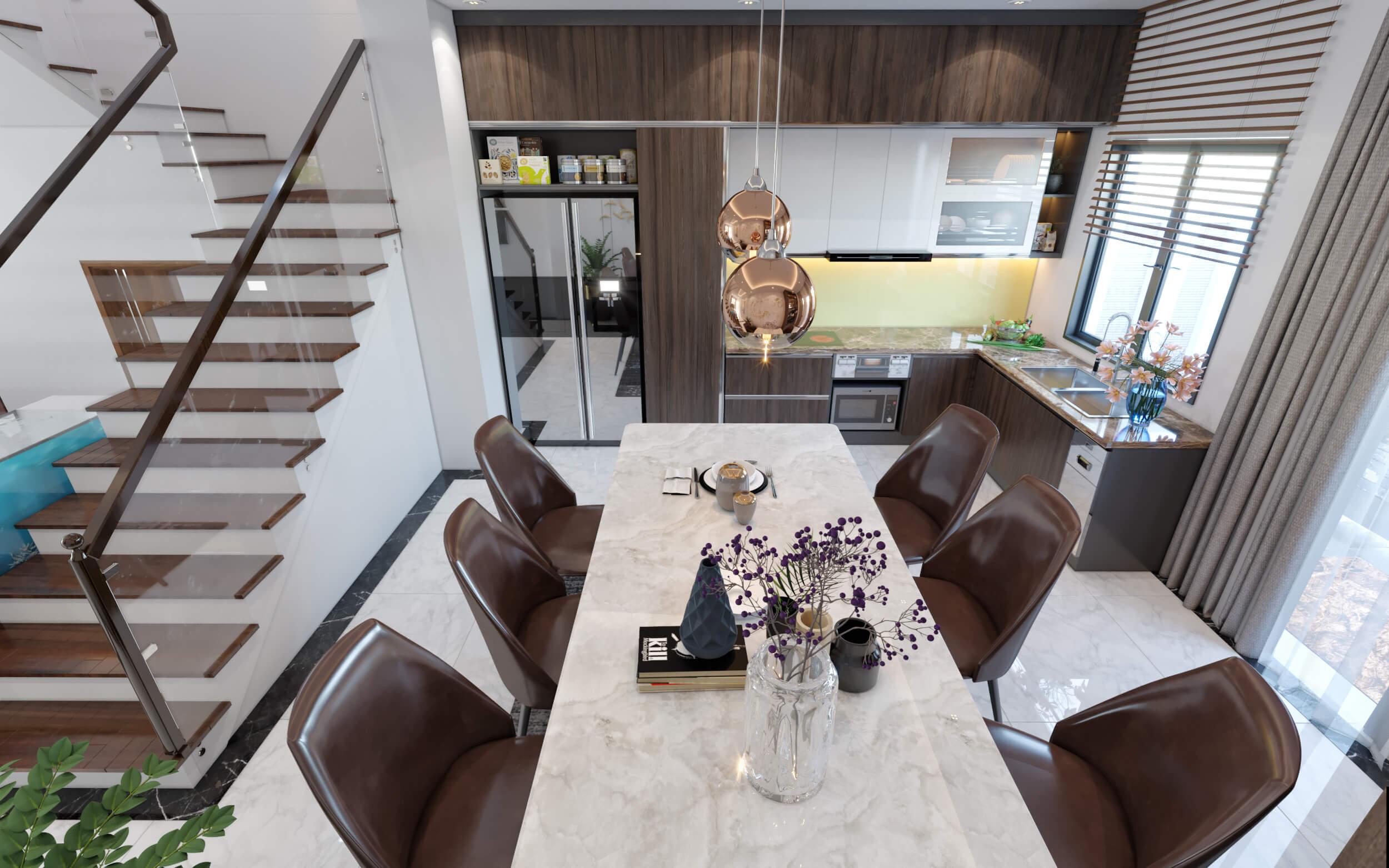 Hình ảnh phòng ăn nhà anh Thanh được xếp cạnh cầu thang