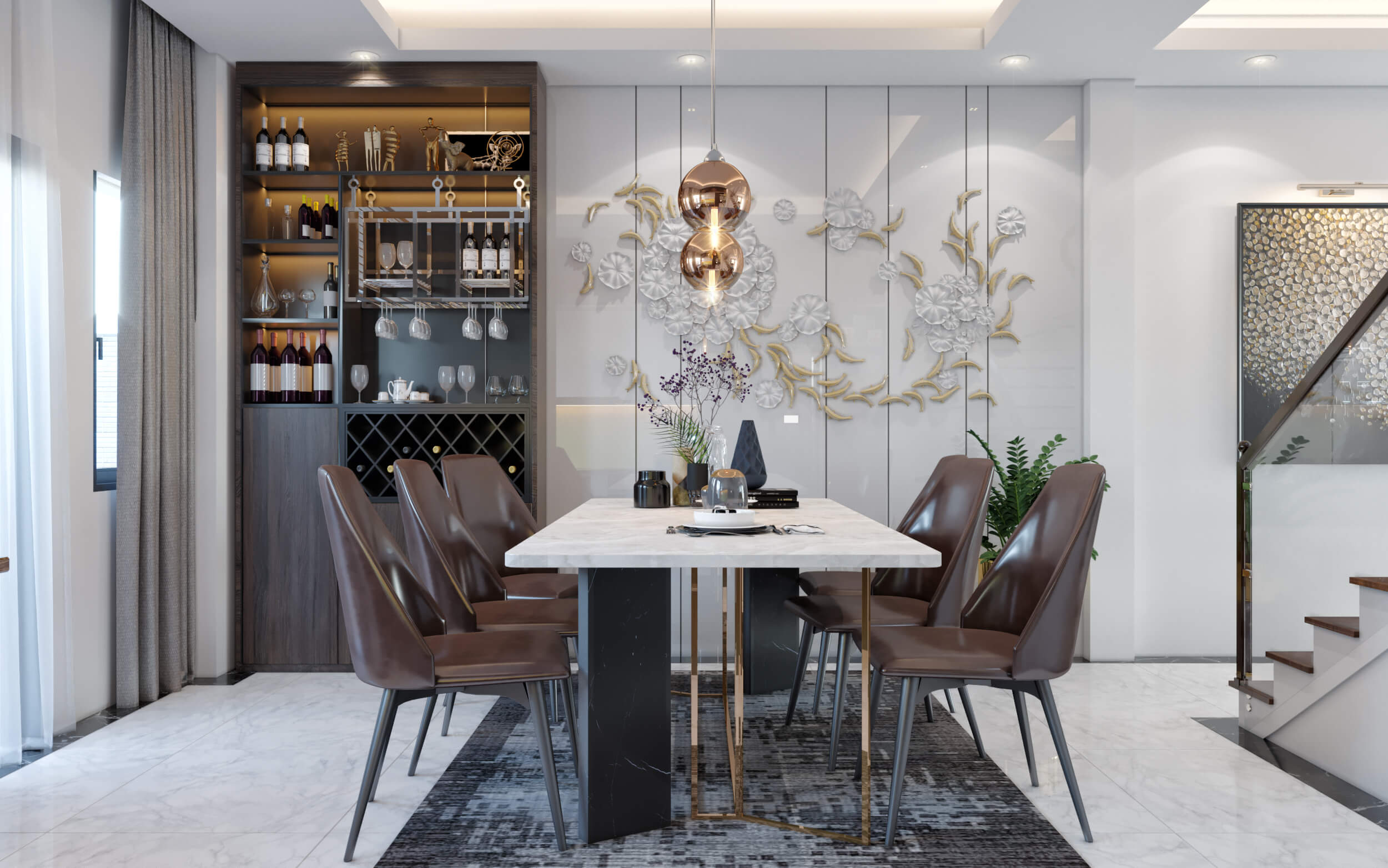 Hình ảnh 3D phòng ăn hiện đại nhà anh Thanh cạnh tủ rượu