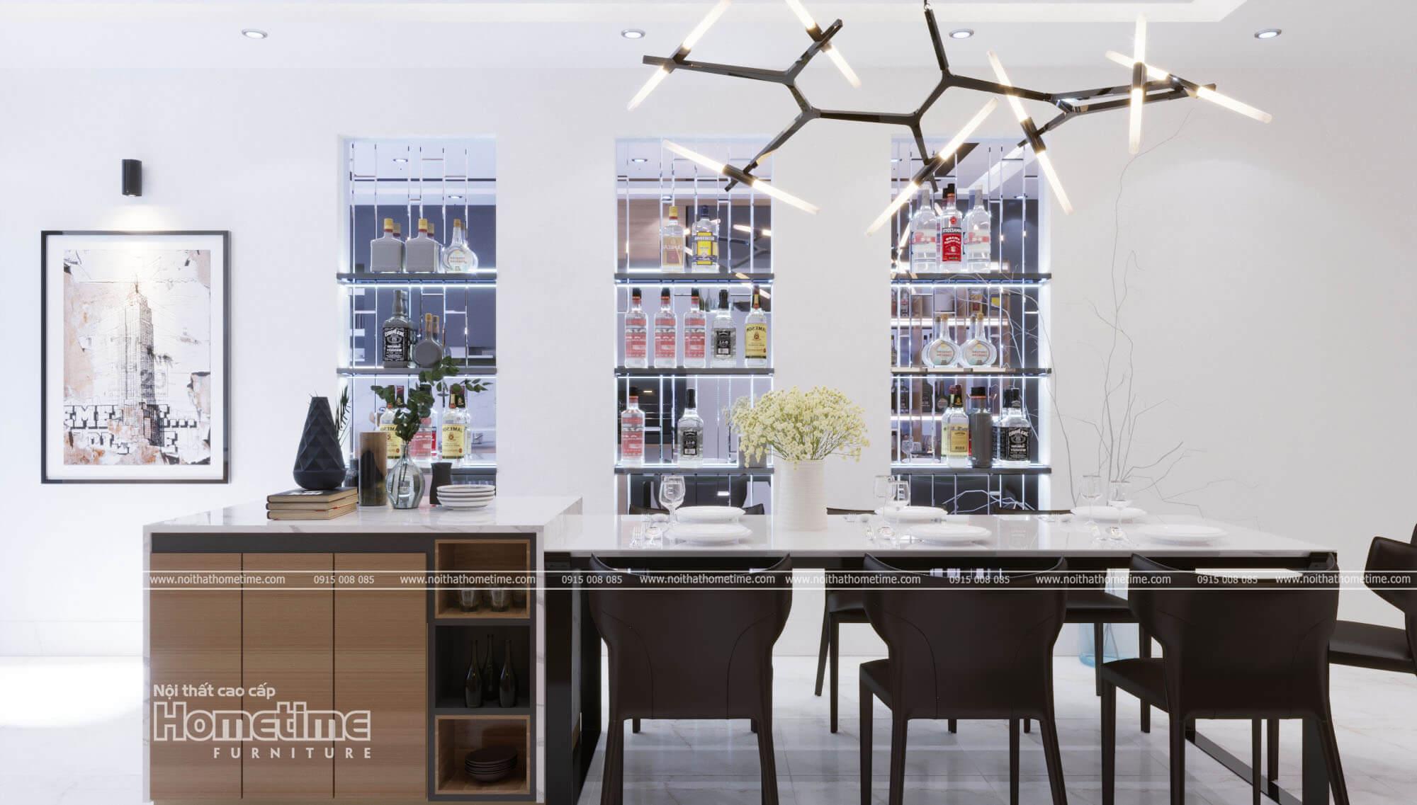 Nội thất phòng ăn với những tủ rượu trưng bày