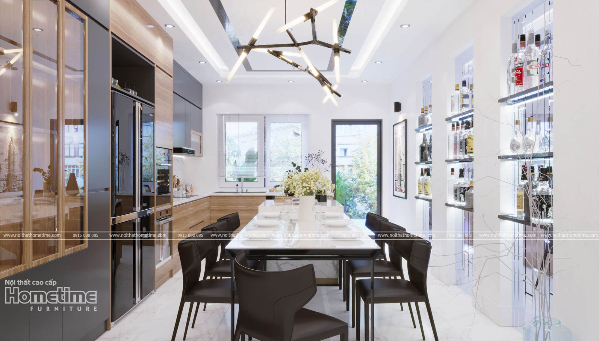Không gian tổng thể nội thất phòng ăn nhà anh Dương