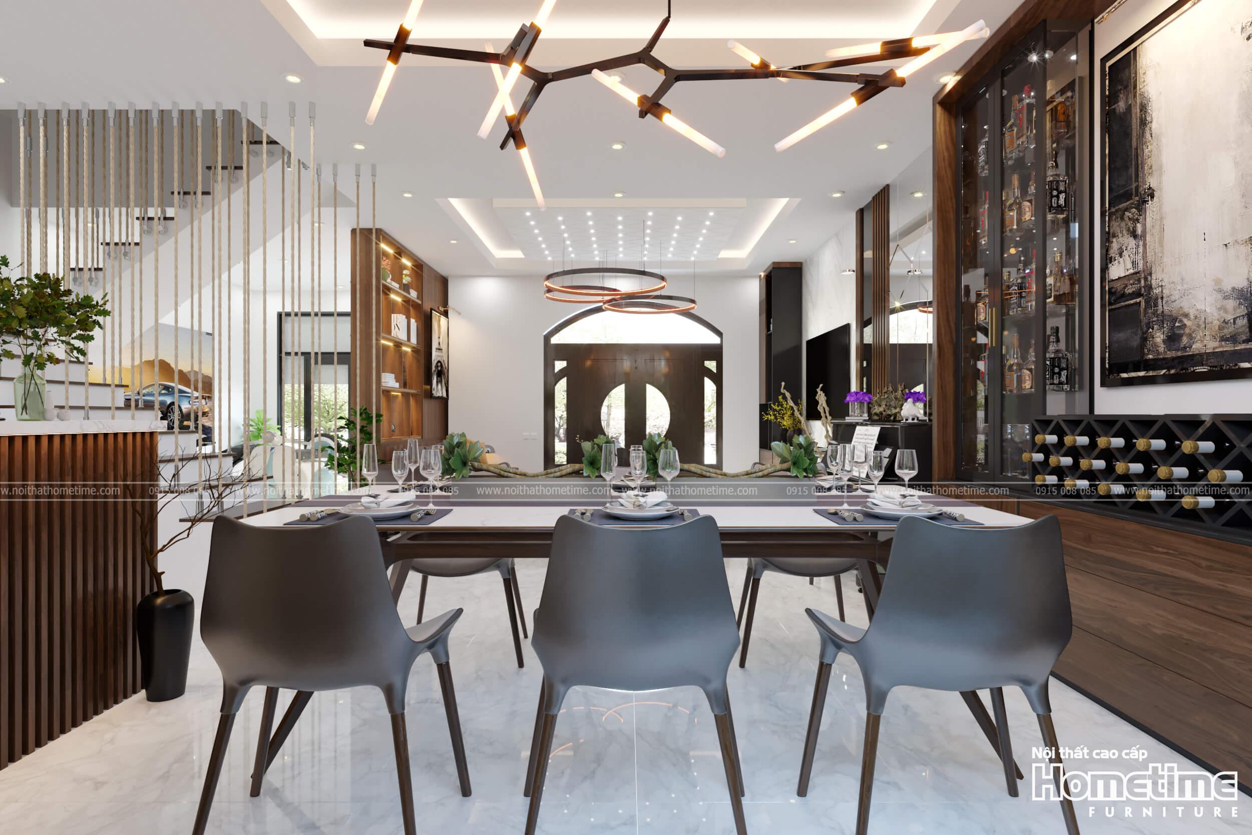 Cận cảnh bộ bàn ăn trong phòng ăn