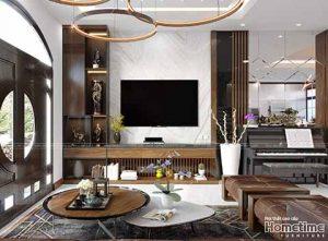 thiết kế nội thất phòng khách nhà chị Bích Vinhomes