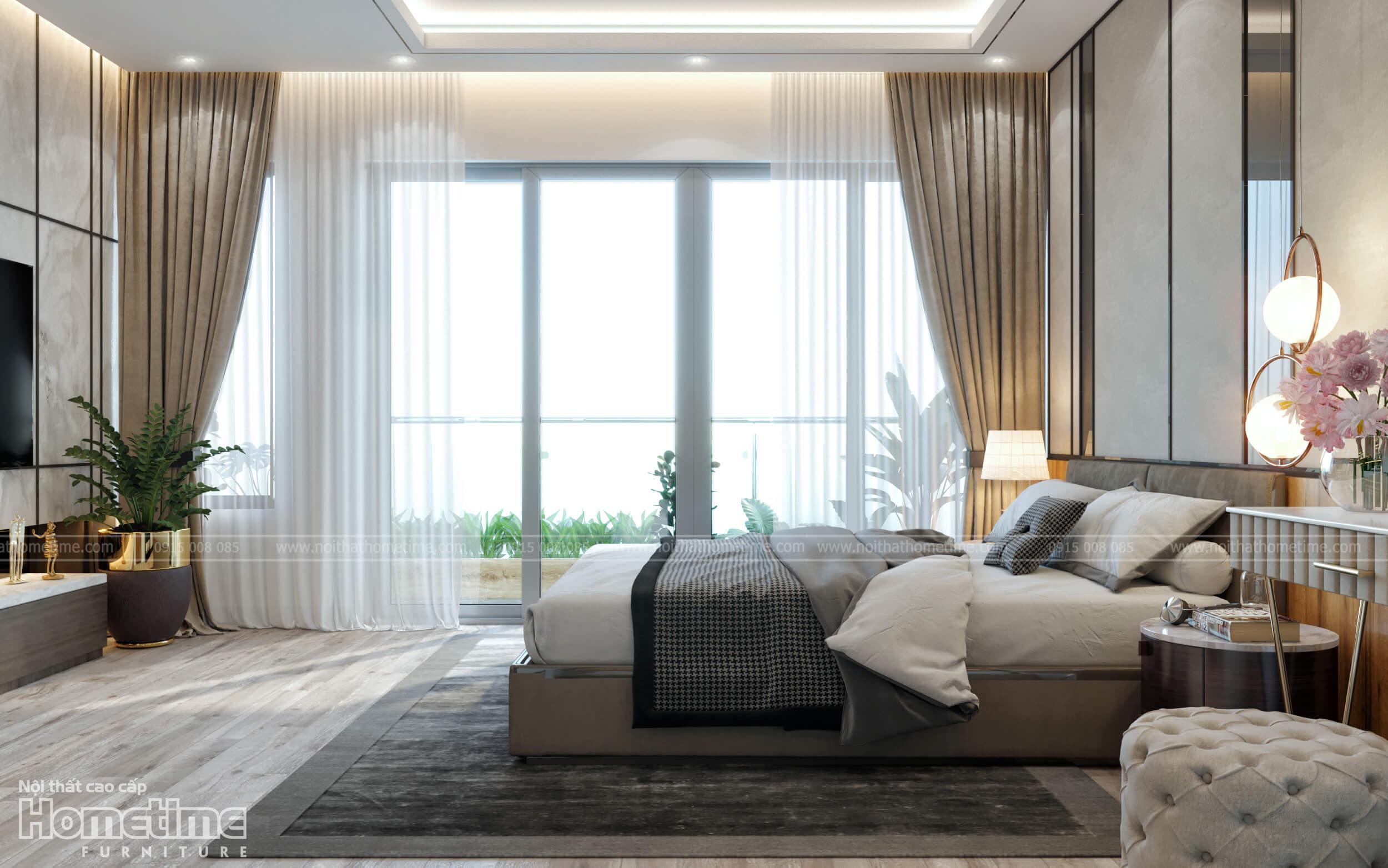 Phòng ngủ với hệ thống cửa kính lớn kết hợp rèm cửa trang trí hiện đại