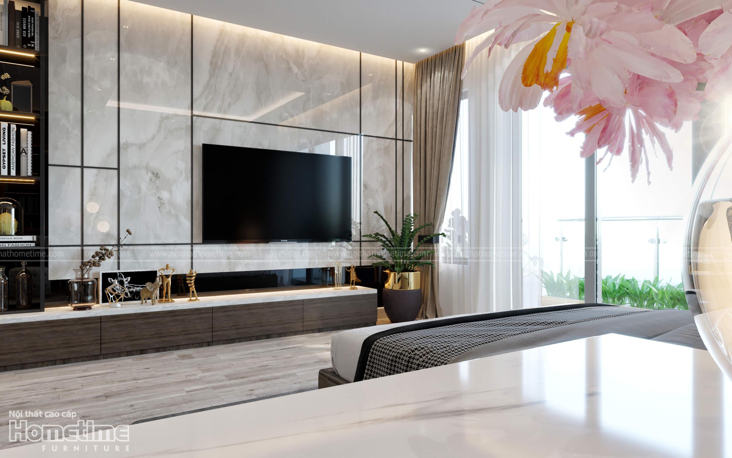 Vách trang trí kệ tivi phòng ngủ hiện đại