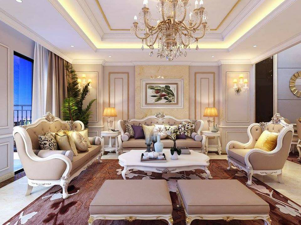 mẫu thiết kế nội thất tân cổ điển phòng khách