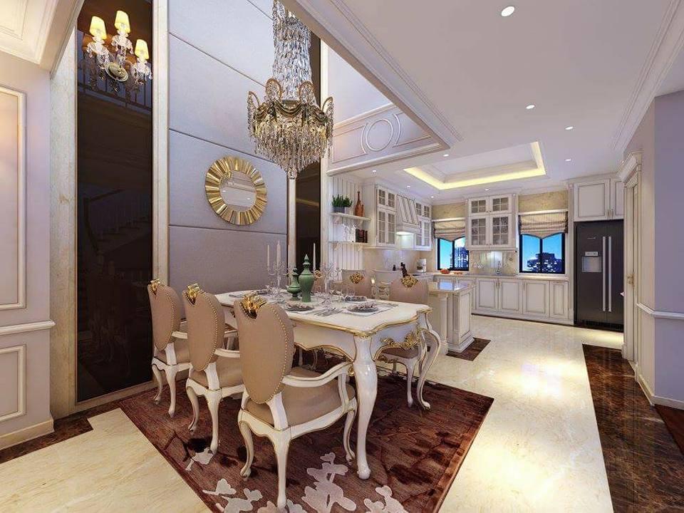 Bộ bàn ăn với thiết kế mang phong cách Tân Cổ Điển