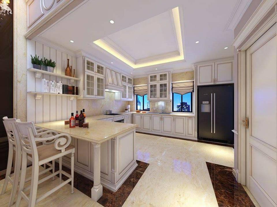 Tủ bếp Tân Cổ Điển soi lô sang trọng